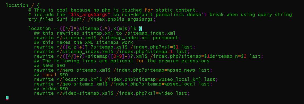 nginx configuration to fix sitemap 404 error