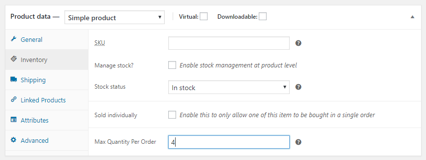 Set max quantity for single customer on a product