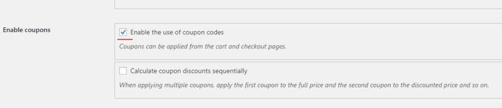 disable the use of coupons