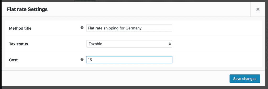 flat rate shipping for country