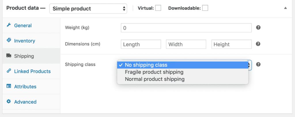 setting shipping class