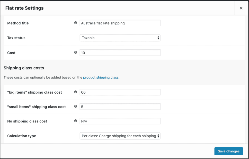 configure shipping method with shipping classes
