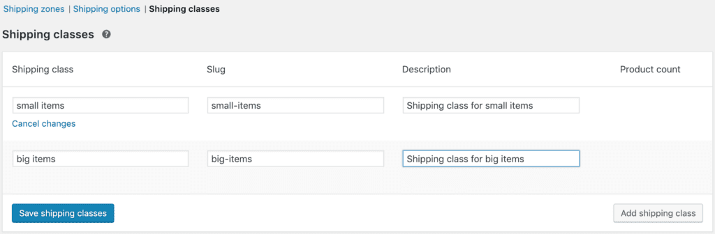 adding woocommerce shipping classes