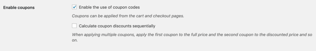enable the coupon codes usages in WooCommerce
