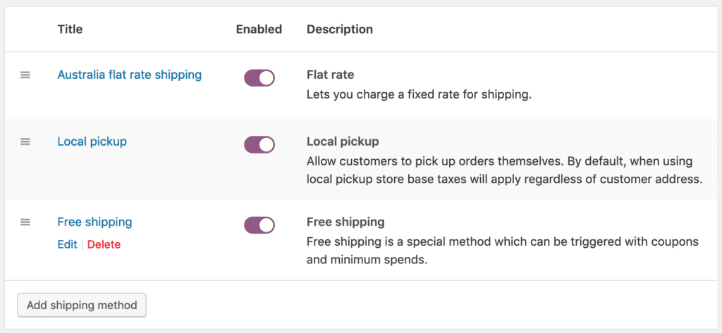 free shipping method is now under Australia