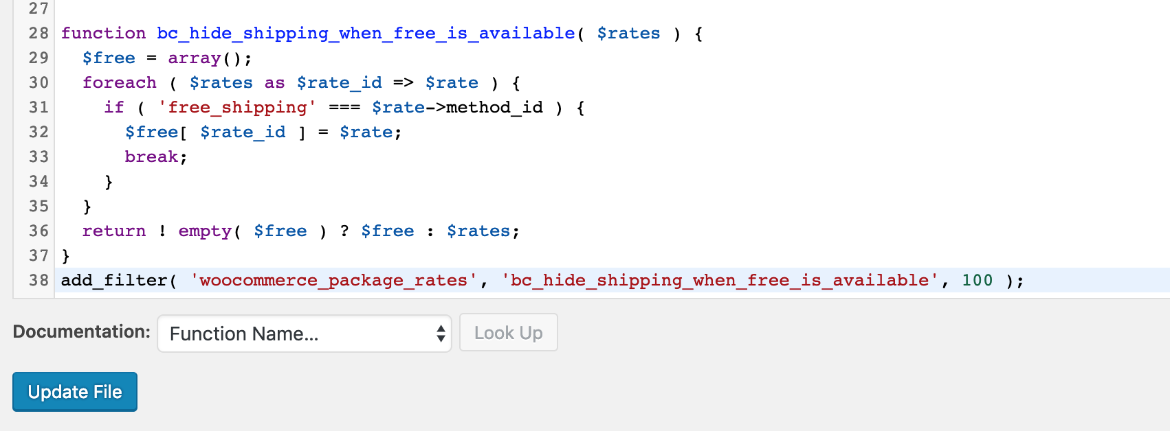 add code to functions.php to hide other shipping methods when free shipping available