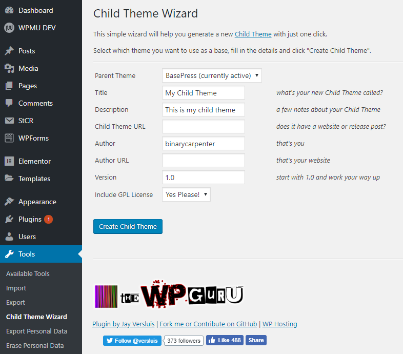 creating child theme with child them wizard