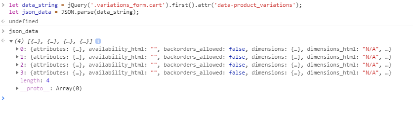 extract variable product data in woocommerce