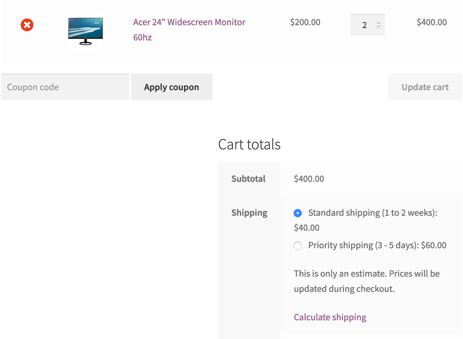 shipping cost updated after using shipping classes