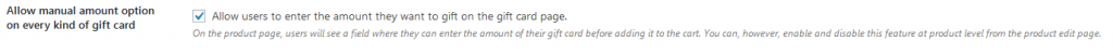 allow manual ammount on the gift card
