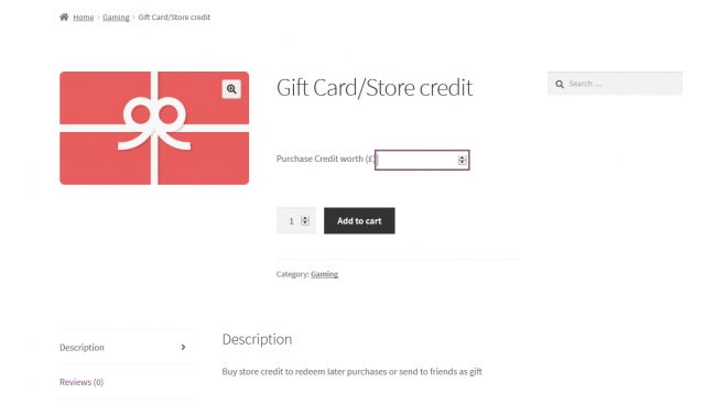 gift card product created on woocommerce store