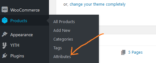go to products then attributes