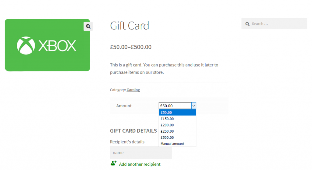 woocommerce gift card created with plugin