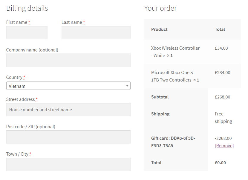 woocommerce gift card successfully applied