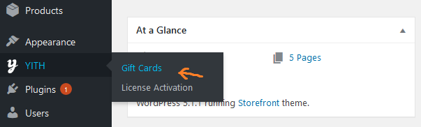 woocommerce gift cards plugin after activated