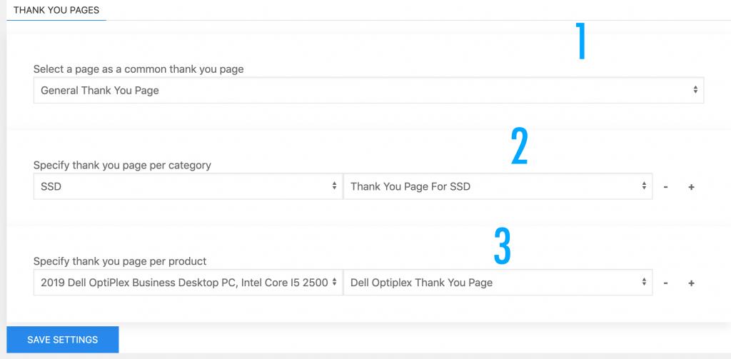 woocommerce custom thank you page settings