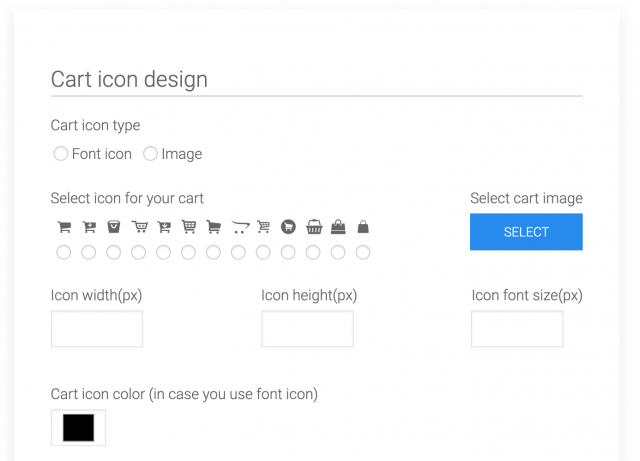 cart icon design section