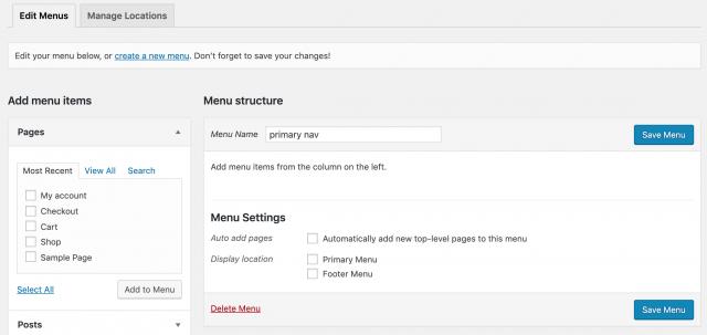 create a blank menu