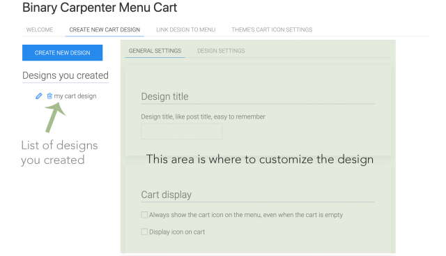 create menu cart interface