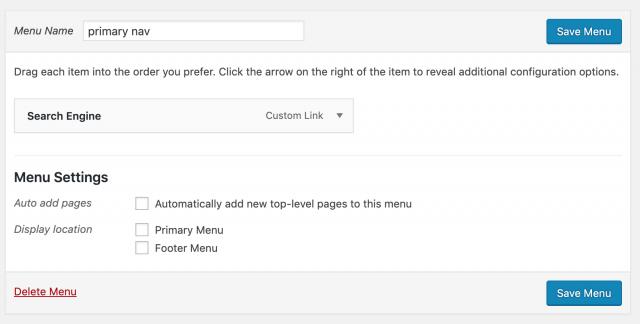 custom link on menu
