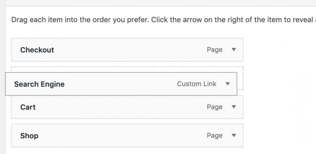 drag to re-order items in wordpress menu