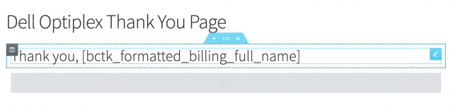 enter thank you page shortcode into page builder