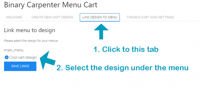 link menu to design