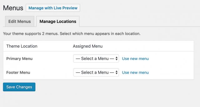 menu locations in wordpress