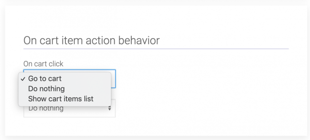 on item action behavior section