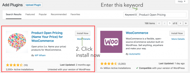 search and install name your price plugin in wordpress dashboard