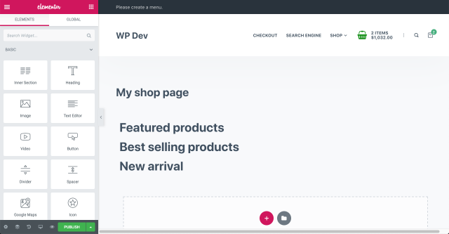 create the headings for the shop page