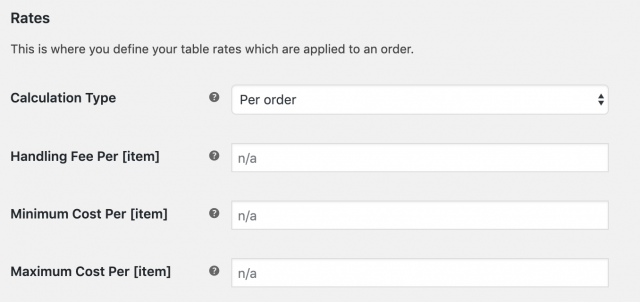 table rates shipping settings - rates