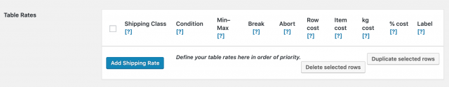 table rates shipping settings - table