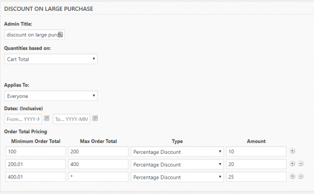 create three tiers rules for cart based discounts