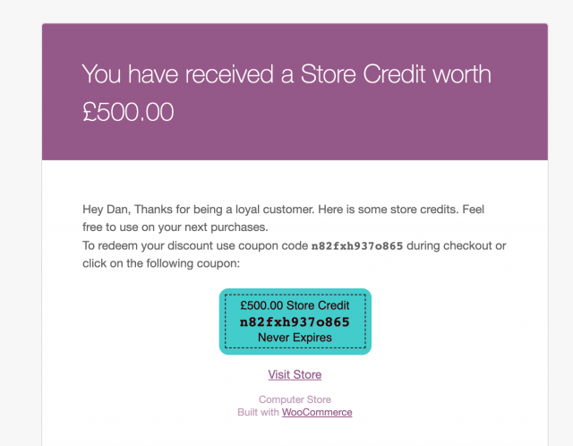 store credits sent to customers