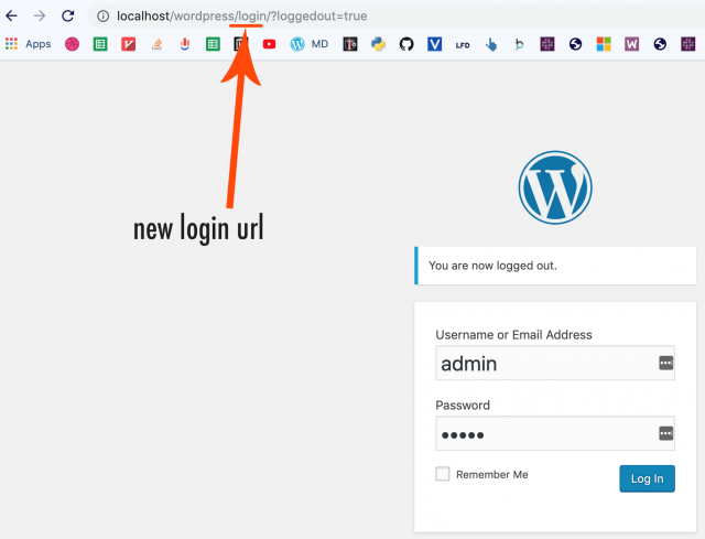 new wordpress login url