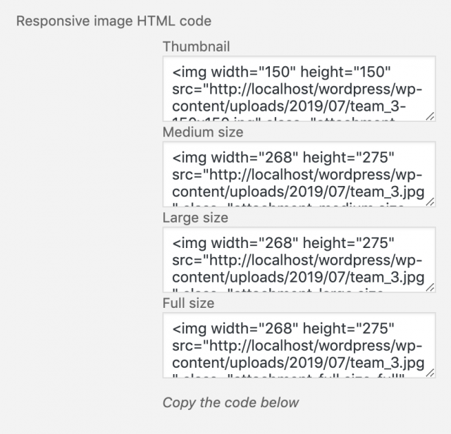 responsive HTML image code in WordPress Media Library