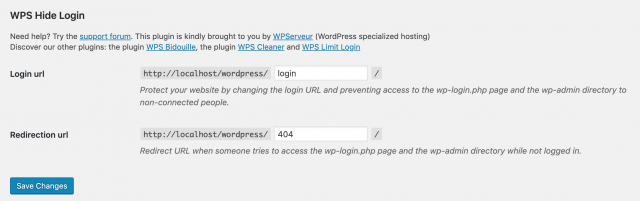 wps hide login settings page