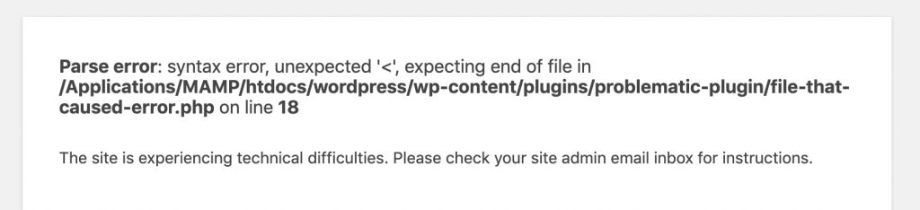detailed error message provided by wordpress