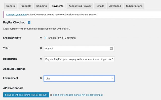 configure woocommerce paypal checkout dashboard