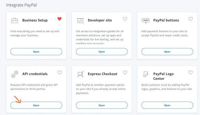 select API credentials