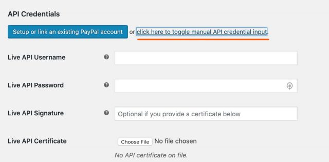 show inputs to enter paypal credentials
