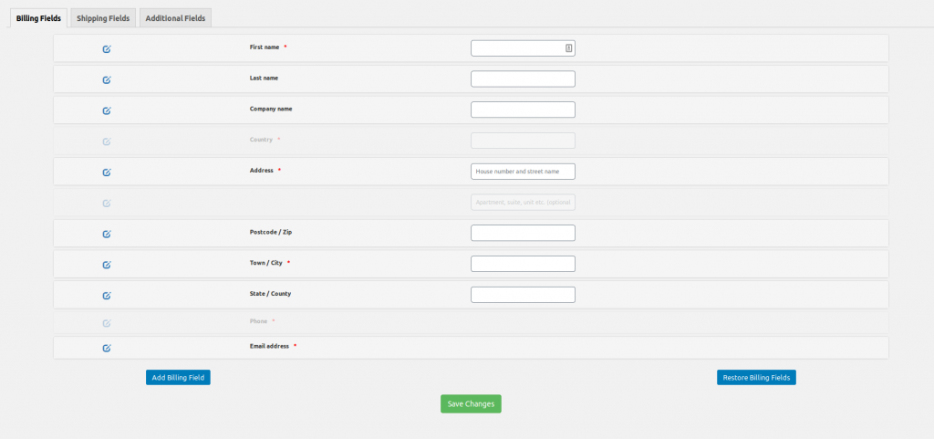 WooCommerce easy checkout field editor billing screen