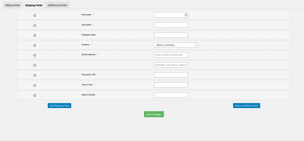 WooCommerce easy checkout field editor shipping screen
