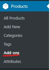 add on option under woocommerce products