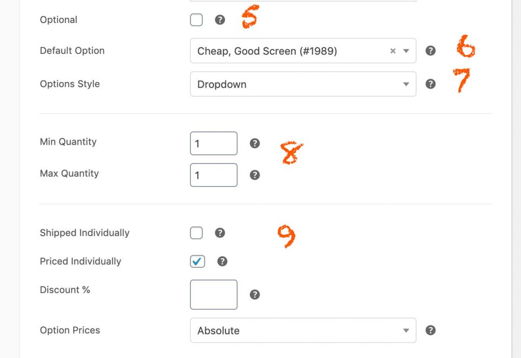 additional fields to configure woocommerce composite products