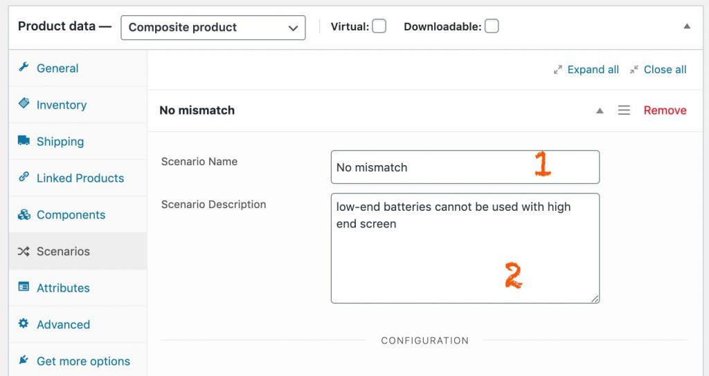 create composite product scenario names and description
