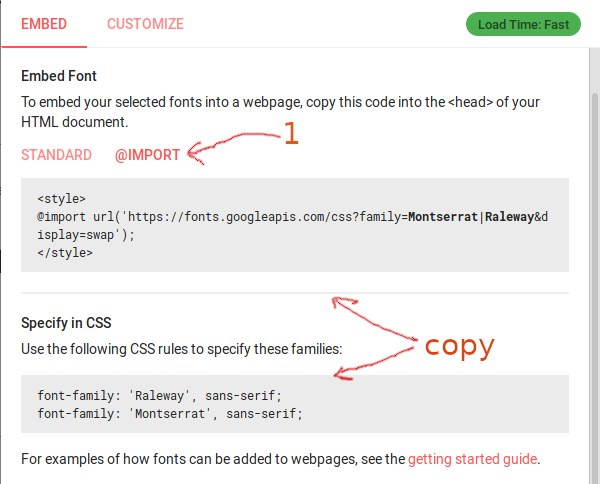 copy google fonts snippets to install on website