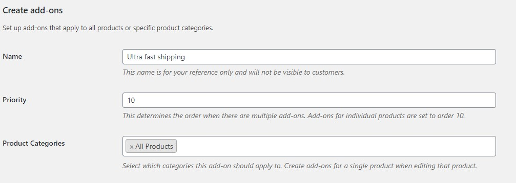 create a global add-on entering details for the add-on