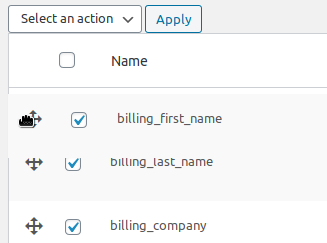 drag to re-order fields in checkout page